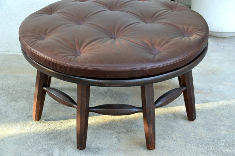 Rancho Monterey Rare Original Round Monterey Coffee Table or Ottoman, Signed For Sale