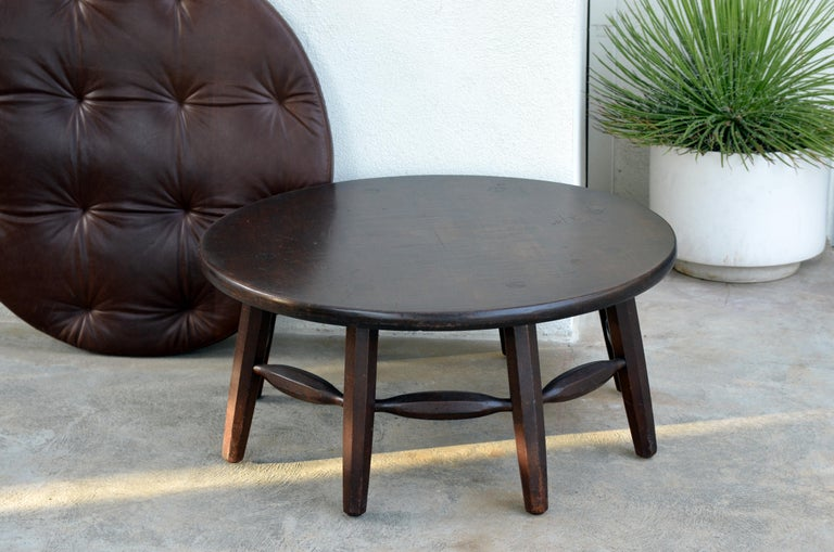 American Rare Original Round Monterey Coffee Table or Ottoman, Signed For Sale