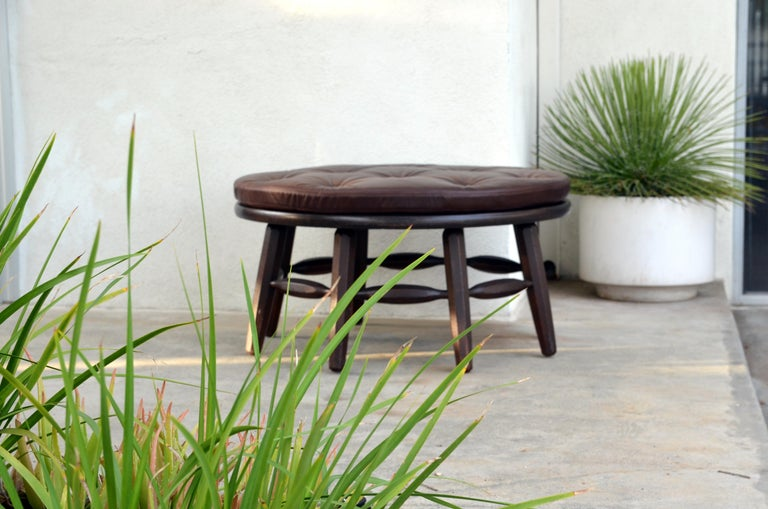 Mid-20th Century Rare Original Round Monterey Coffee Table or Ottoman, Signed For Sale