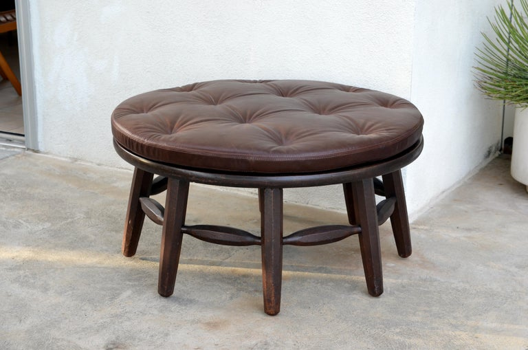 Leather Rare Original Round Monterey Coffee Table or Ottoman, Signed For Sale