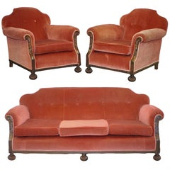 Rare Original Victorian Suite Ideal Restoration Project Club Armchairs and Sofa