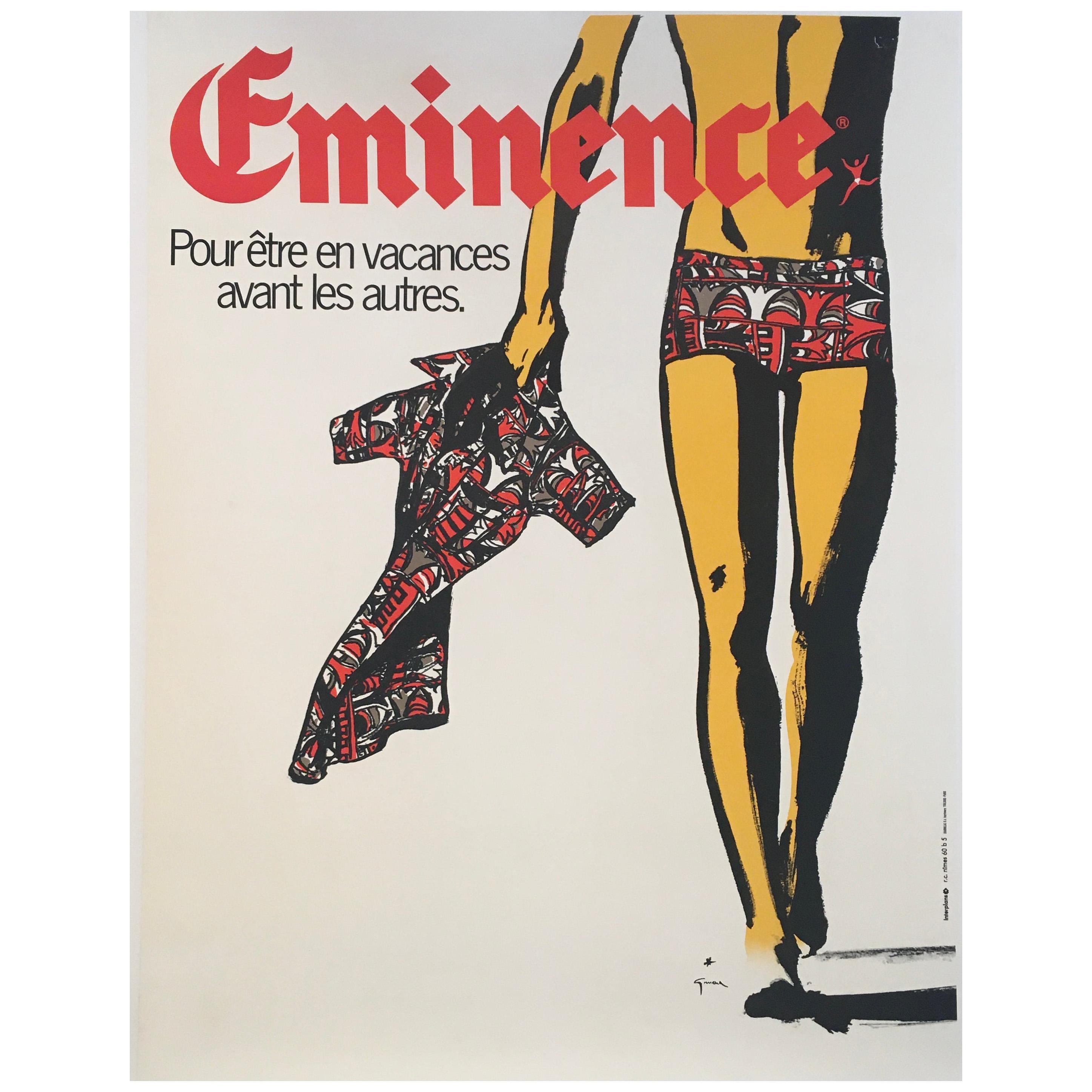 Rare Original Vintage Advertising Poster, 'Eminence' by Rene Gruau, Circa 1975