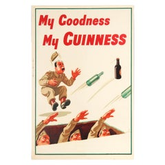 Rare Original Vintage My Goodness My Guinness Poster by John Gilroy WWII Trench