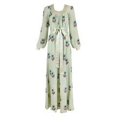 Rare Ossie Clark Moss Crepe Maxi Dress Gown w/Celia Birtwell Print Ca.1970