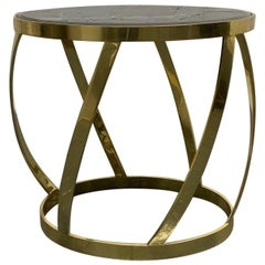 Rare Oval Onyx Brass Side Table by Karl Springer