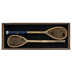 Rare Oxford University Prize Racquets Racket 1857 Silver Mounted and Engraved