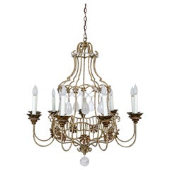 Rare Painted Belle Époque Style Birdcage Chandelier with Rock Crystals