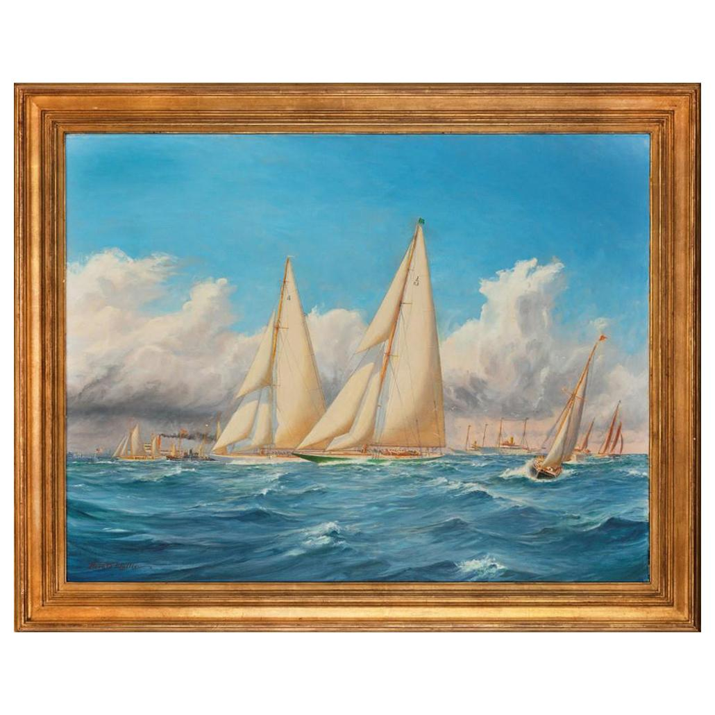 Rare Painting of 1930 America's Cup Racing off Newport, Signed 'Harold Wyllie