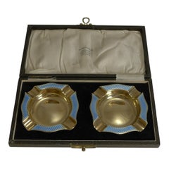 Rare Pair of Cased Silver Gilt and Blue Guilloche Enamel Ashtrays, 1929