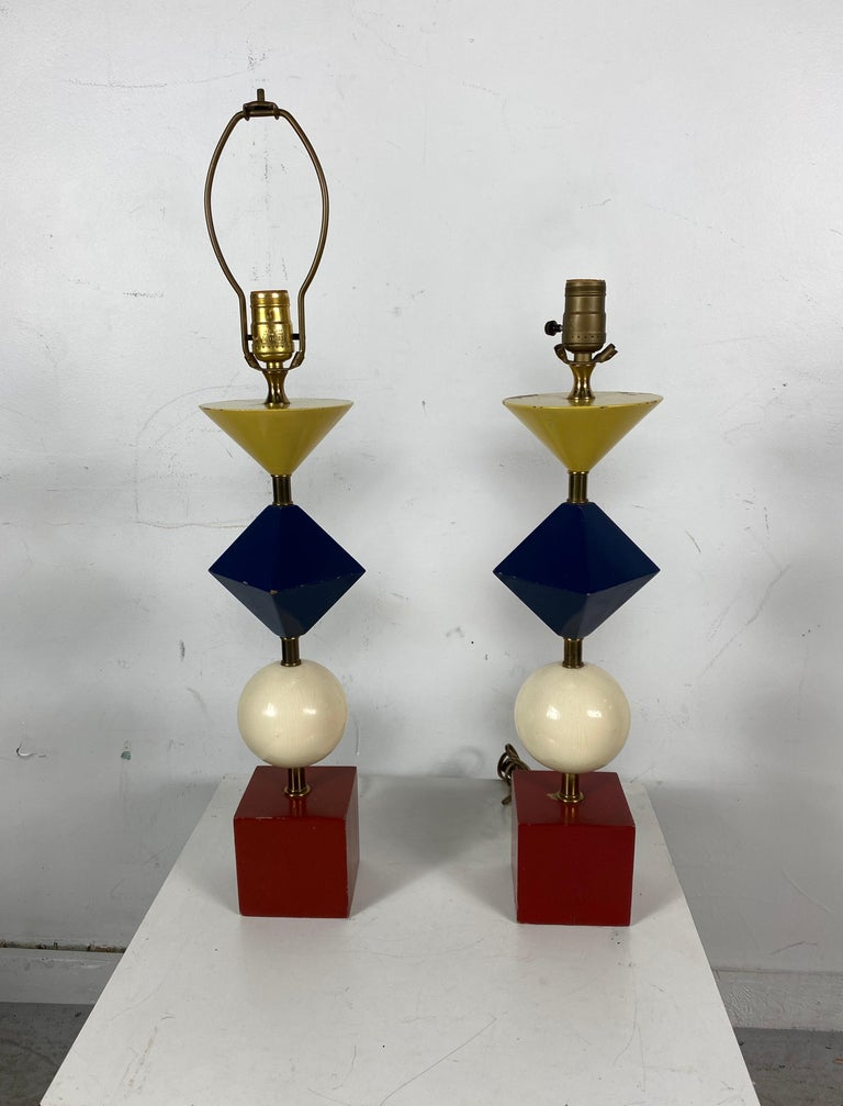 Mid-Century Modern Rare Pair of Gerald Thurston, Lightolier Table Lamps, Painted Wood Shapes For Sale