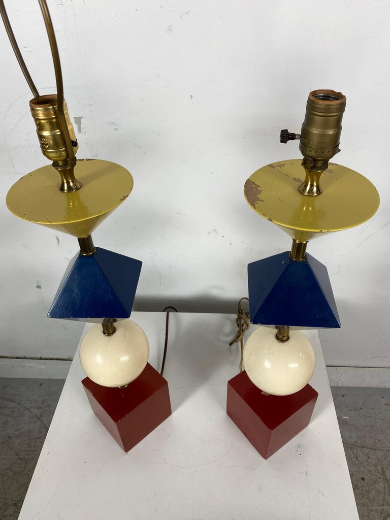 American Rare Pair of Gerald Thurston, Lightolier Table Lamps, Painted Wood Shapes For Sale