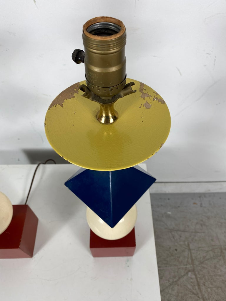 Brass Rare Pair of Gerald Thurston, Lightolier Table Lamps, Painted Wood Shapes For Sale
