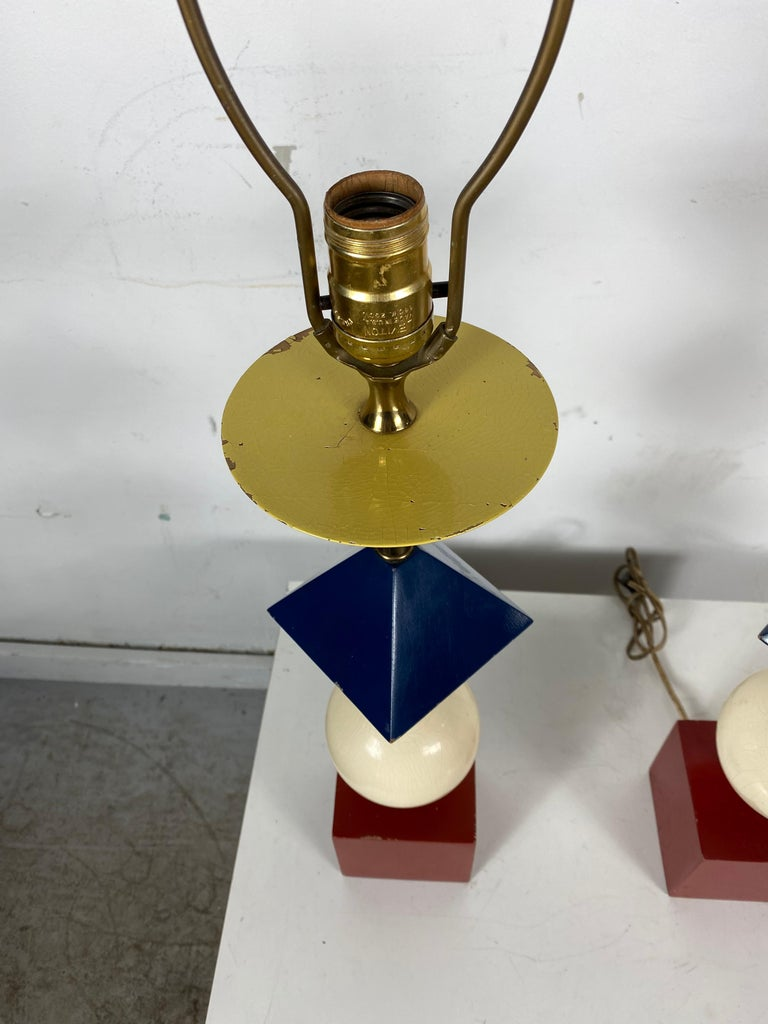 Rare Pair of Gerald Thurston, Lightolier Table Lamps, Painted Wood Shapes For Sale 1