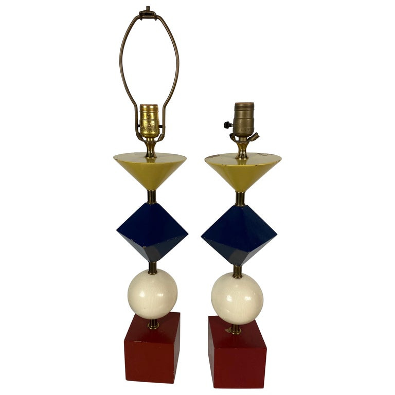 Rare Pair of Gerald Thurston, Lightolier Table Lamps, Painted Wood Shapes For Sale