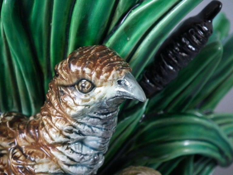 Rare Pair of Hugo Lonitz Majolica Partridge and Chicks Planters For Sale 7