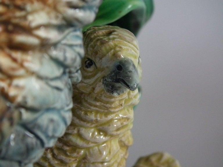 Rare Pair of Hugo Lonitz Majolica Partridge and Chicks Planters For Sale 10