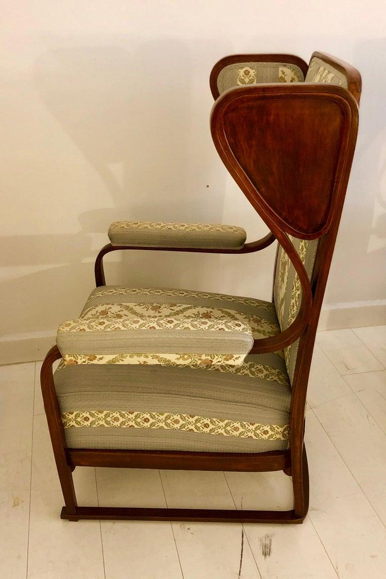 Austrian Rare Pair of Josef Hoffmann Wingback Chairs For Sale