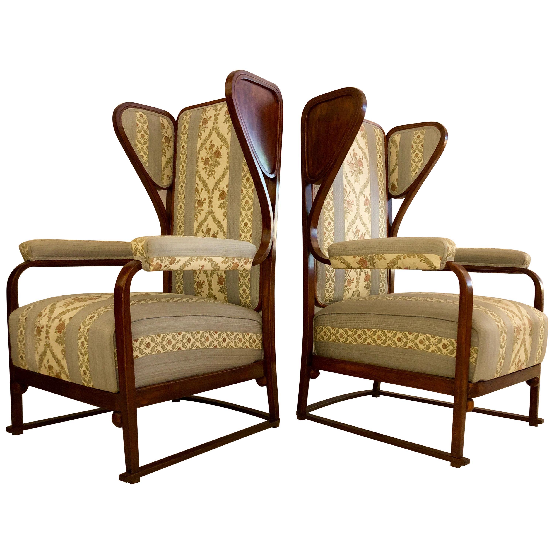 Rare Pair of Josef Hoffmann Wingback Chairs