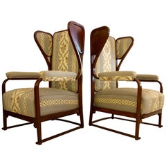 Rare Pair of Josef Hoffmann Wingback Chairs
