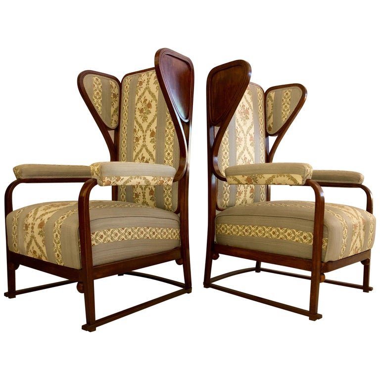 Rare Pair of Josef Hoffmann Wingback Chairs For Sale