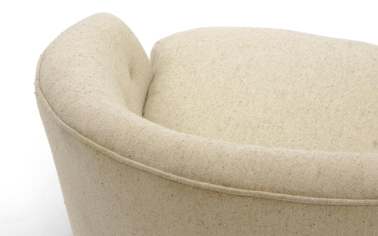Upholstery Rare Pair of Large Round Milo Baughman Swivel Club Chairs, Original, Signed For Sale