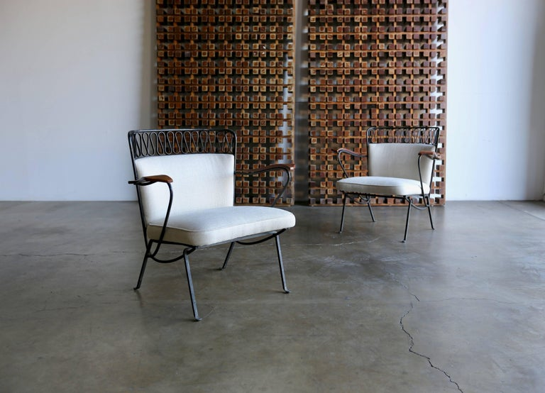 """Rare pair of """"Ribbon"""" lounge chairs Maurizio Tempestini for Salterini.  New Holly Hunt linen upholstery."""