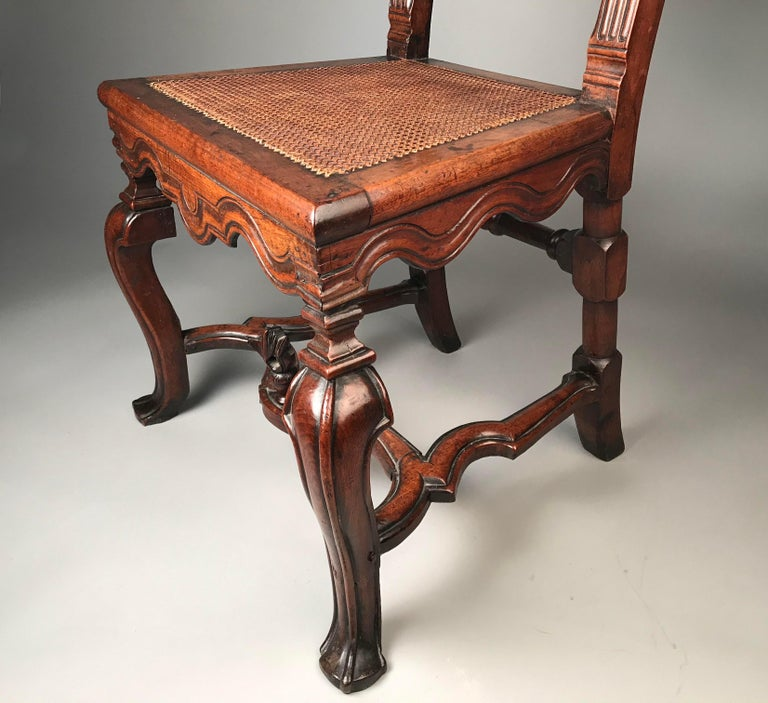 Rare Pair of 17th Century English Walnut Chairs For Sale 6