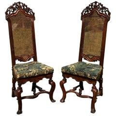 Rare Pair of 17th Century English Walnut Chairs