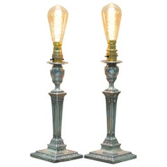 Rare Pair of 1879 James Bembridge Sterling Silver Corinthian Candlestick Lamps