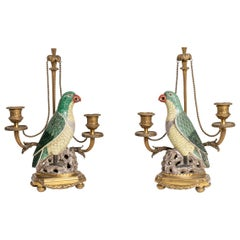 Rare Pair of 18th Century-19th Century Chinese Porcelain Parrots Candelabra