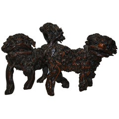 Rare pair of 18th century Antique Chinese Root Wood Foo Dogs