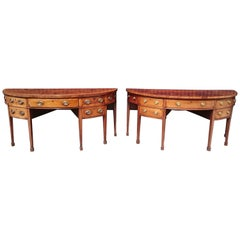 Rare Pair of 18th Century George III Mahogany Demilune Bow Fronted Side Boards