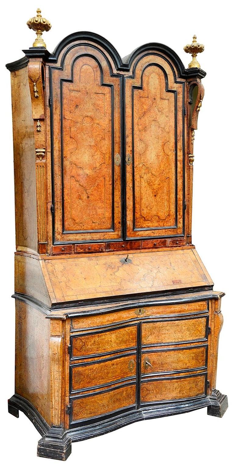 Rare Pair of 18th Century Italian Double Dome Bureau Bookcases, circa 1760 In Fair Condition For Sale In Brighton, Sussex