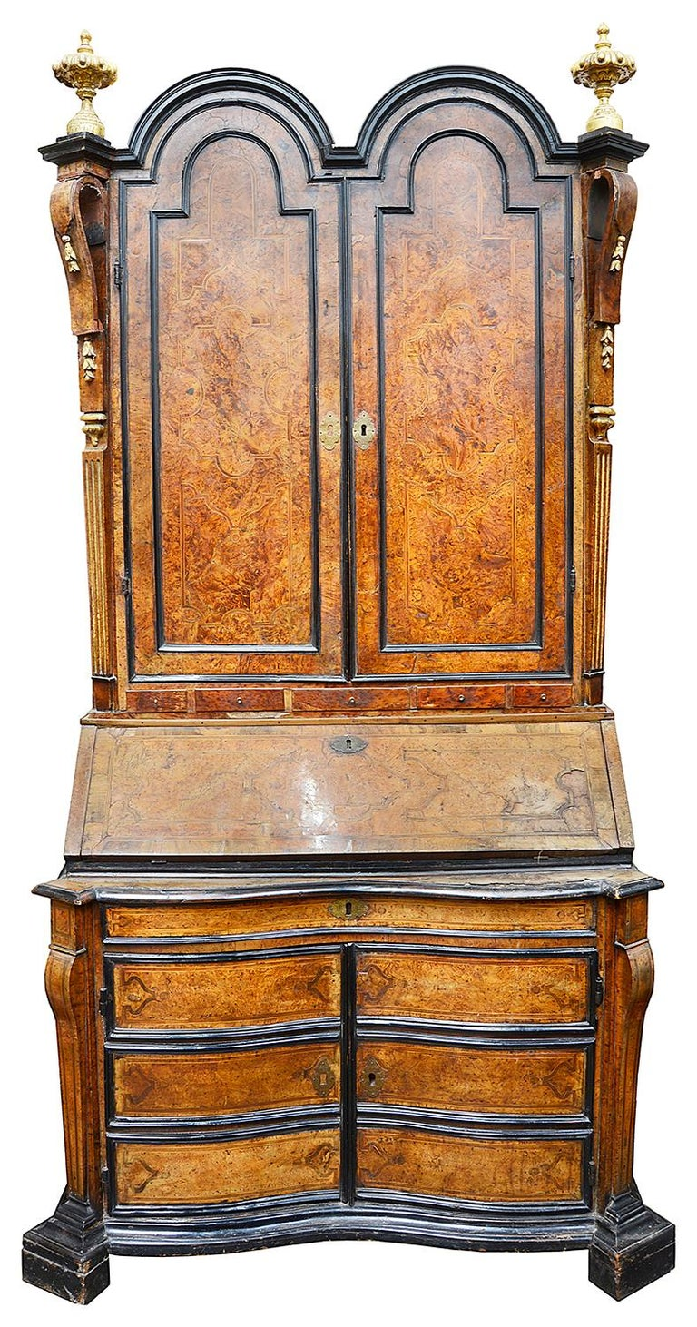 Walnut Rare Pair of 18th Century Italian Double Dome Bureau Bookcases, circa 1760 For Sale