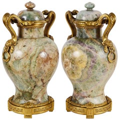 Rare Pair of 18th Century Quartz, Ormolu Mounted Vases, circa 1780