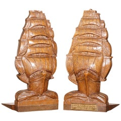 Rare Pair of 1916 Ship Sail Boat Bookends from HMS Iron Duke Admiral Jellicoe's