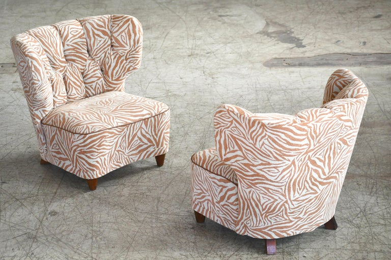 Mid-Century Modern Rare Pair of 1940s Easy Lounge or Slipper Chairs Designed by Carl-Johan Boman For Sale