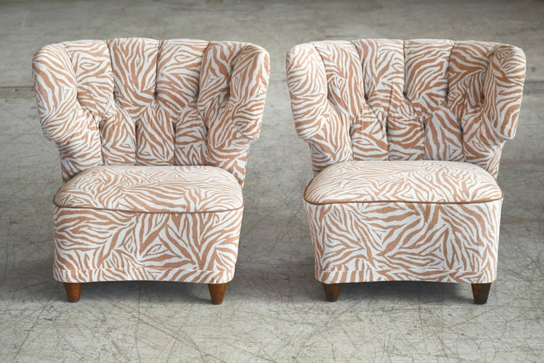 Finnish Rare Pair of 1940s Easy Lounge or Slipper Chairs Designed by Carl-Johan Boman For Sale