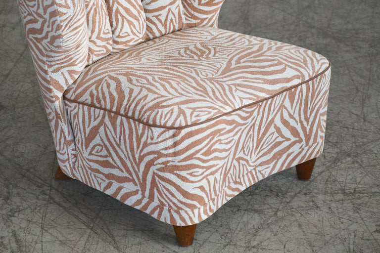 Elm Rare Pair of 1940s Easy Lounge or Slipper Chairs Designed by Carl-Johan Boman For Sale