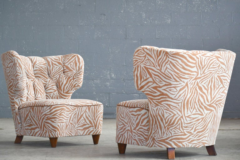 Rare Pair of 1940s Easy Lounge or Slipper Chairs Designed by Carl-Johan Boman For Sale 1