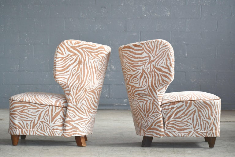 Rare Pair of 1940s Easy Lounge or Slipper Chairs Designed by Carl-Johan Boman For Sale 2