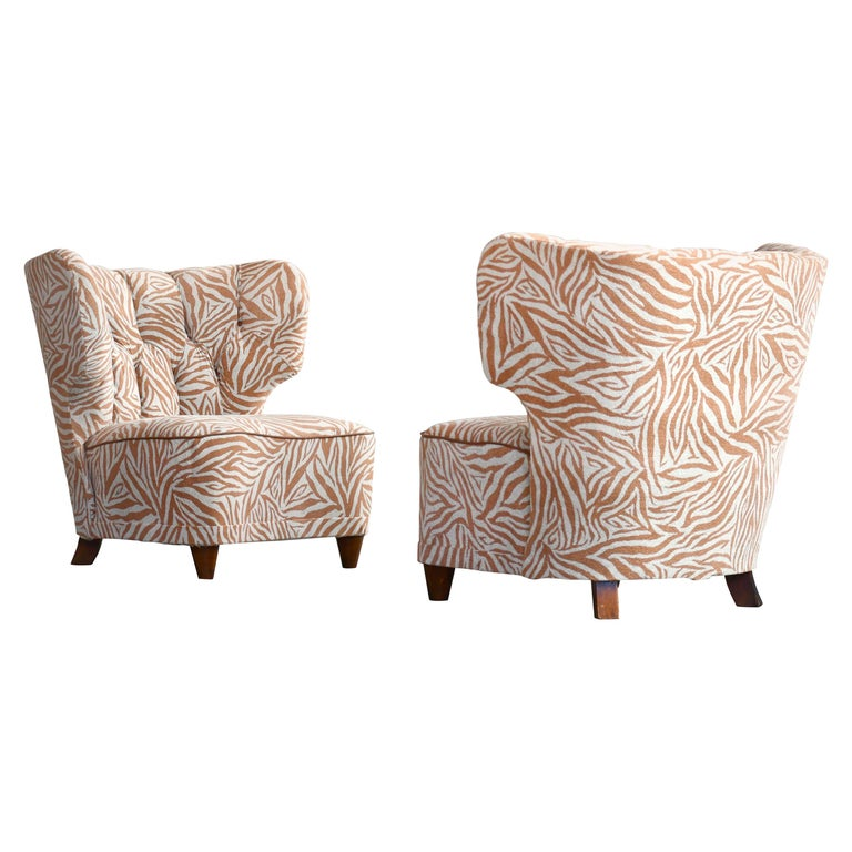 Rare Pair of 1940s Easy Lounge or Slipper Chairs Designed by Carl-Johan Boman For Sale