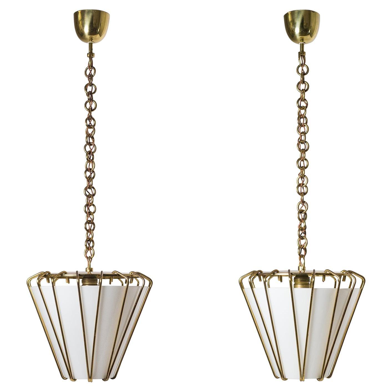Rare Pair of 1940s Lanterns by J.T. Kalmar