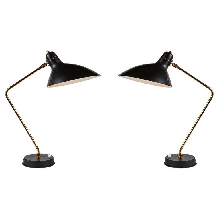 Rare Pair of 1950s Jean Boris Lacroix Table Lamps For Sale