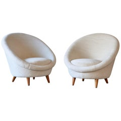 Rare Pair of 1950s Norwegian Egg Chairs, Newly Upholstered in Alpaca