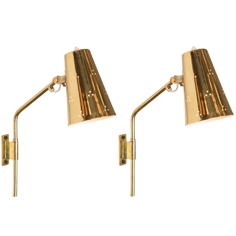 Rare Pair of 1950s Paavo Tynell Perforated Brass Wall Lights