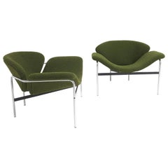 Rare Pair of 1960s Dutch 'Groovy' Lounge Chairs Attributed to Gelderland