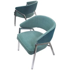 Rare Pair of 1970s Mid-Century Modern Teal Green and Chrome Side Armchairs