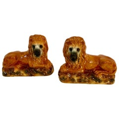 Rare Pair of 19th Century Antique Staffordshire Reclining Lions