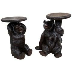Rare Pair of 19th Century Black Forest Bear Stools